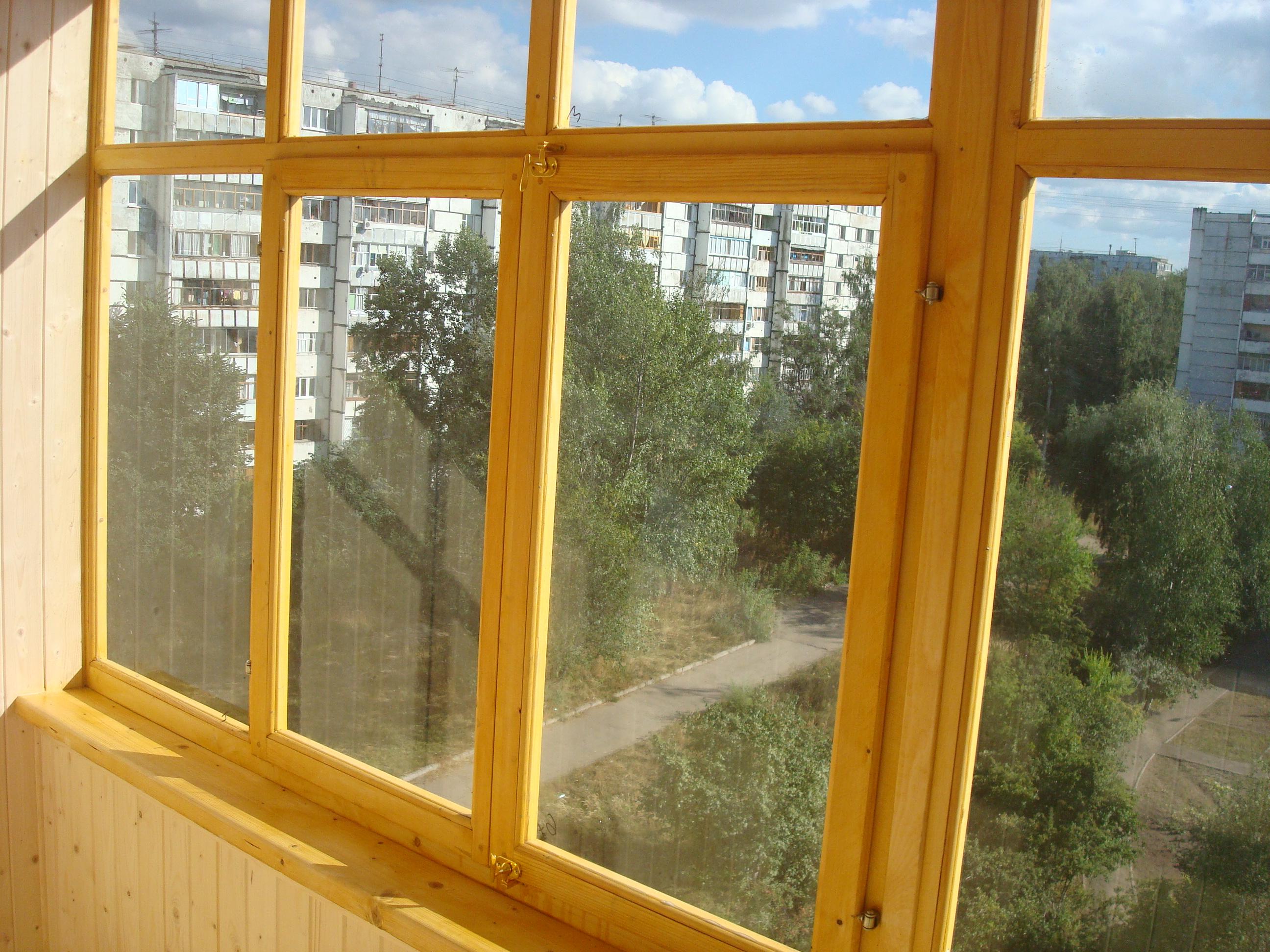 Благоустройство балконов, лоджий, дач. - деревЯнные рамы.